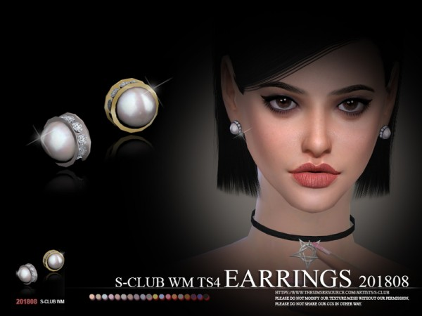 The Sims Resource: Earrings F 201808 by S Club