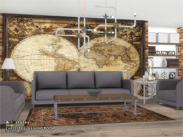 The Sims Resource: Chesterfield Livingroom by ArtVitalex