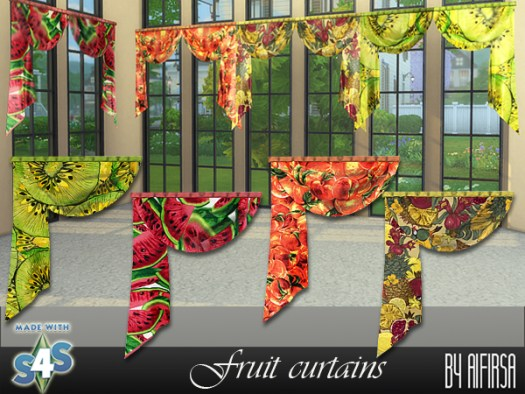 Aifirsa Sims: Curtain with fruit print