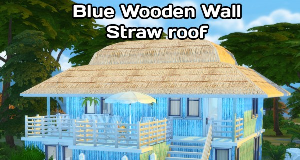 Simming With Mary: Blue Wooden wall straw roof