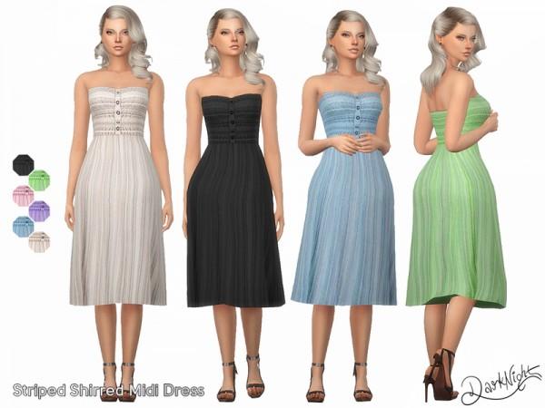 The Sims Resource: Striped Shirred Midi Dress by DarkNighTt