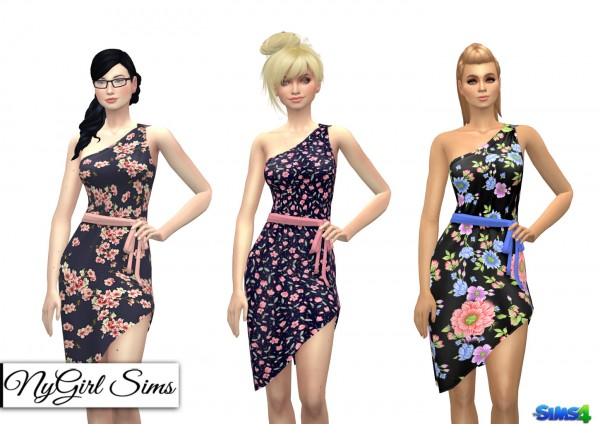 NY Girl Sims: One Shoulder Asymmetrical Wrap Dress