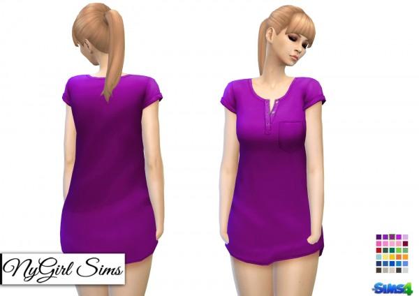NY Girl Sims: Short Sleeve Pocketed Night Shirt