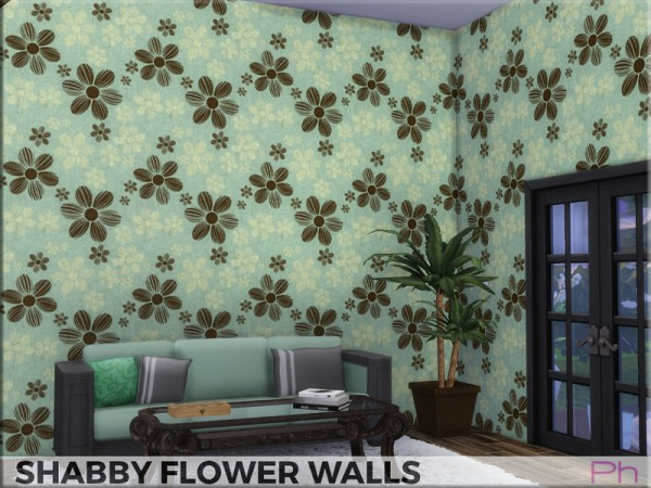 The Sims Resource: Shabby Flowers Walls by Pinkfizzzzz