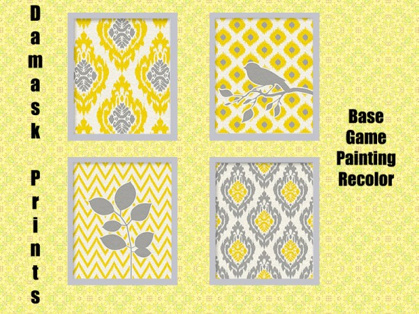 The Sims Resource: Damask Paintings by Rosannep