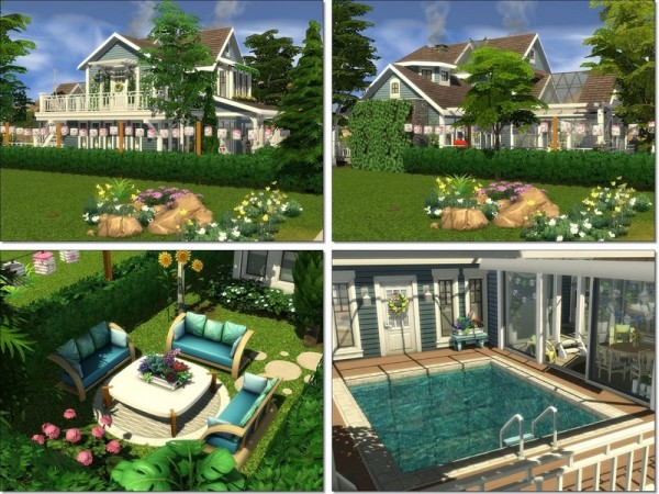 The Sims Resource: Romantic Corner house by MychQQQ