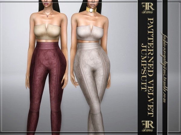 The Sims Resource: Patterned Velvet Jumpsuit by FashionRoyaltySims