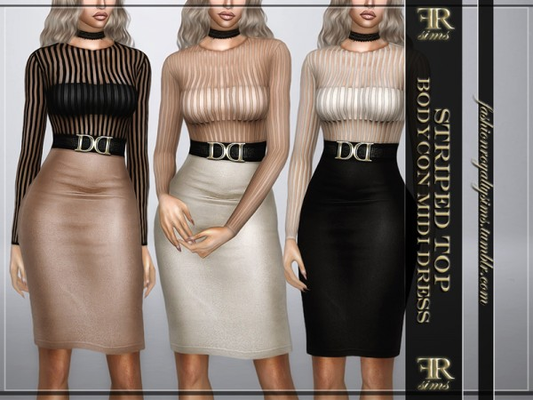 The Sims Resource: Striped Top Bodycon Midi Dress by FashionRoyaltySims