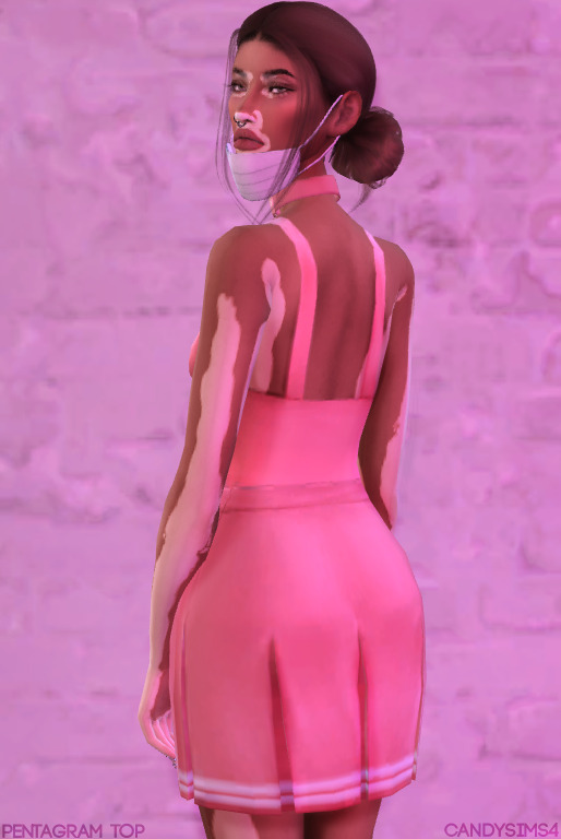 Candy Sims 4: Pentagram top and fishnet bodysuit