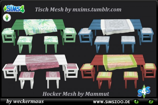 Blackys Sims 4 Zoo: Outdoor dining group by weckermaus
