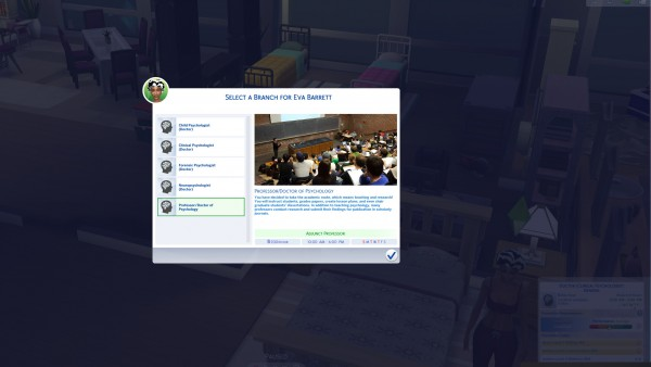 Mod The Sims: Clinical Psychologist Career  Multiple Tracks by Shannie115