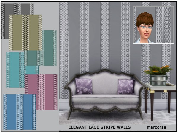 The Sims Resource: Elegant Lace Stripe Walls by marcorse