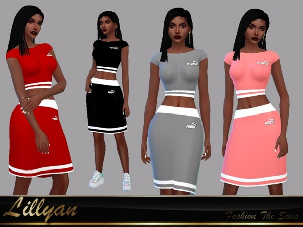 The Sims Resource: Set sport : skirt and top Selma by LYLLYAN