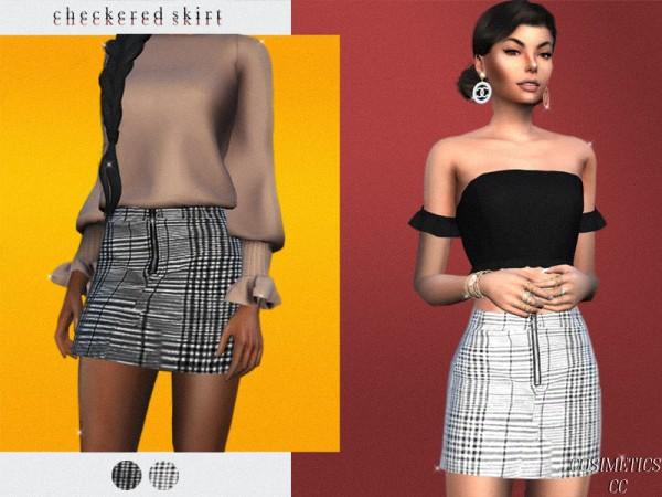 The Sims Resource: Checkered skirt by cosimetics