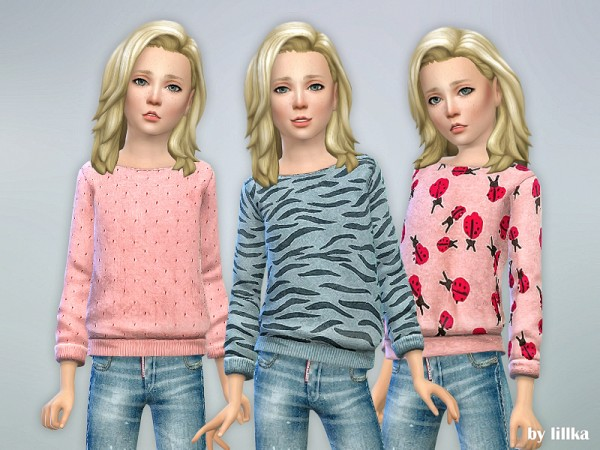 The Sims Resource: Printed Sweatshirt for Girls P30 by lillka
