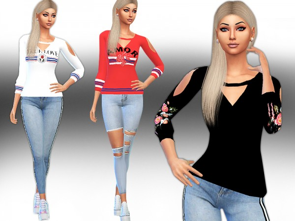 The Sims Resource: Trendy Floral Embroidery and Pattern Sweats by Saliwa