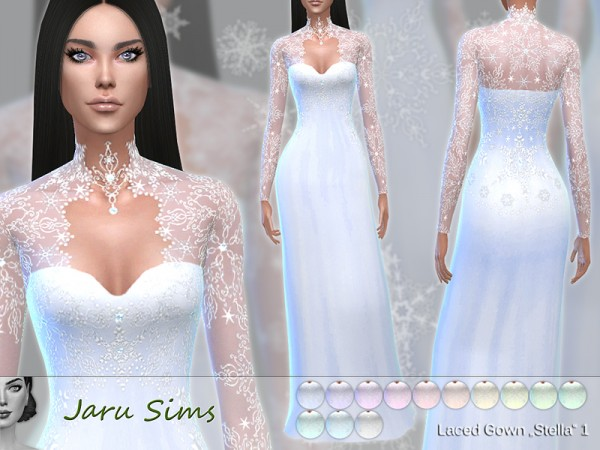 The Sims Resource: Laced Gown Stella 1 by Jaru Sims