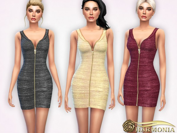 The Sims Resource: Luxe Metallic Bandage Dress by Harmonia