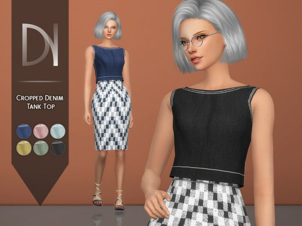 The Sims Resource: Cropped Denim Tank Top by DarkNighTt