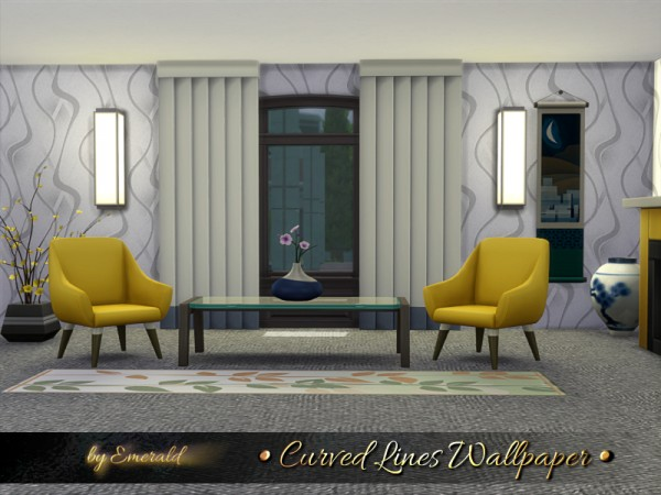 The Sims Resource: Curved Lines Wallpaper by emerald
