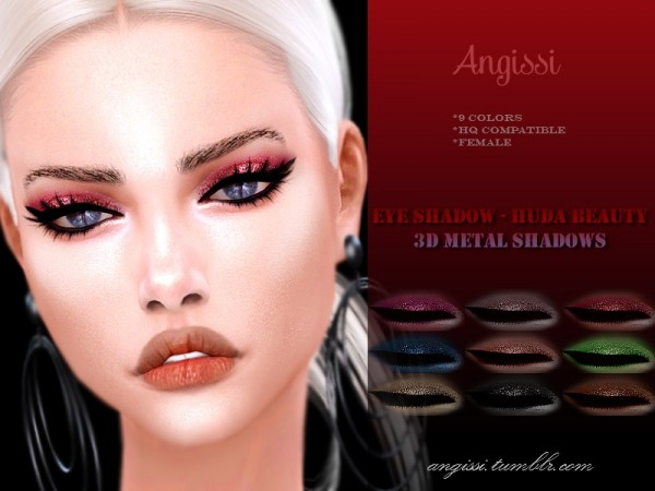 The Sims Resource: Huda Beauty 3D metal shadows by ANGISSI