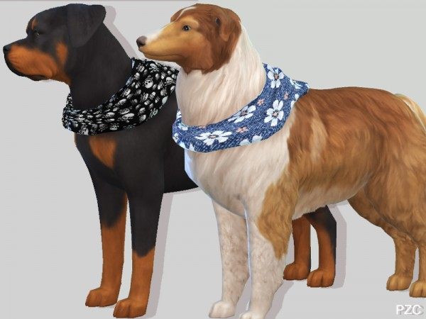 The Sims Resource: Summer Denim Bandanas For Large Dogs by Pinkzombiecupcakes