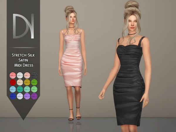 The Sims Resource: Stretch Silk Satin Midi Dress by DarkNighTt