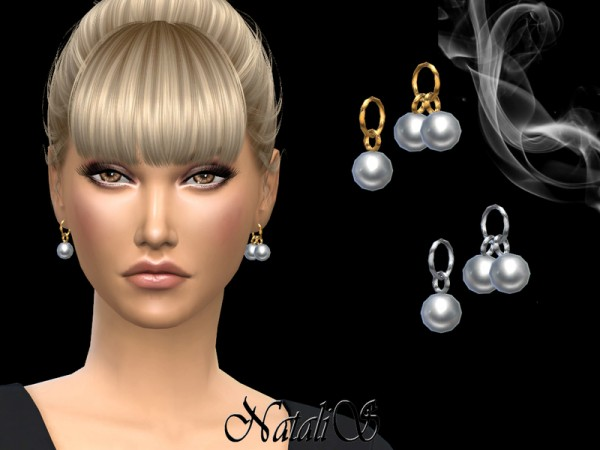 The Sims Resource: Asymmetrical pearl pendant earrings by NataliS