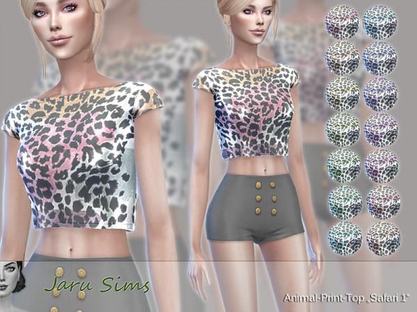 The Sims Resource: Animal Print Top Safari 1 by Jaru Sims