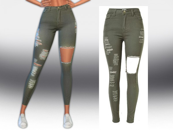 The Sims Resource: Army Green Ripped Jeans by Saliwa