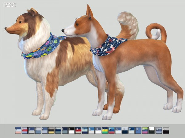 The Sims Resource: Summer Denim Bandanas For Small Dogs by Pinkzombiecupcakes