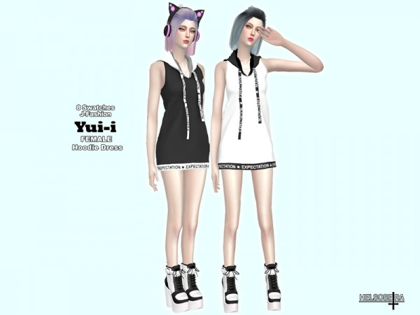 The Sims Resource: YUII   Hoodie Mini Dress by Helsoseira