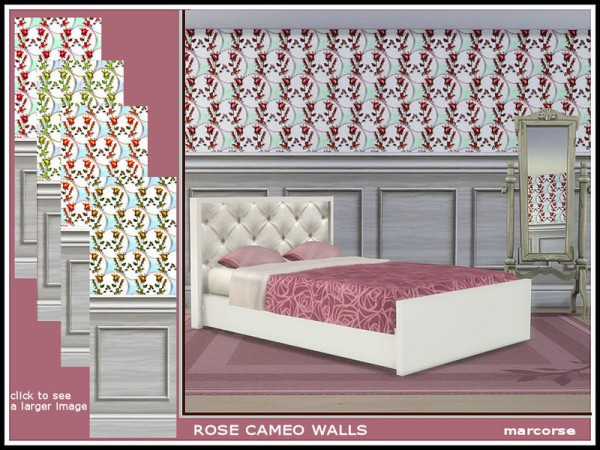 The Sims Resource: Rose Cameo Walls by marcorse