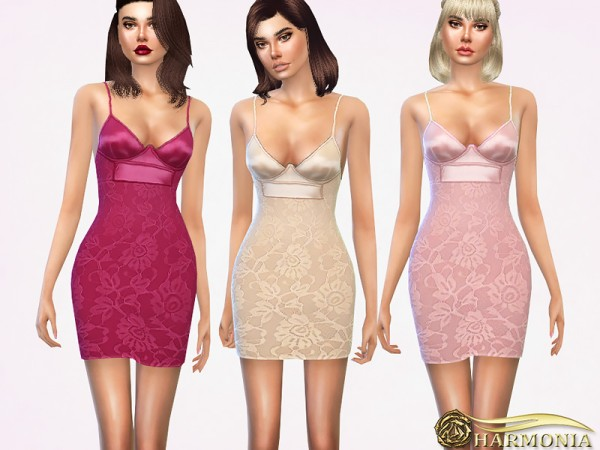 The Sims Resource: Satin Top Buster Lace Bodycon Dress by Harmonia