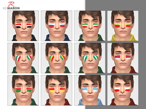 The Sims Resource: World Cup face paint by remaron