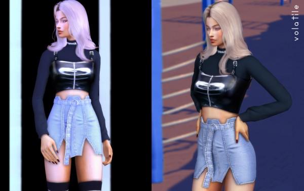 Volatile: Aquaria Set top and denim skirt