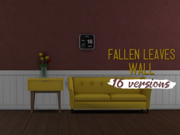 Simsworkshop: Fallen Leaves Wall by midnightskysims