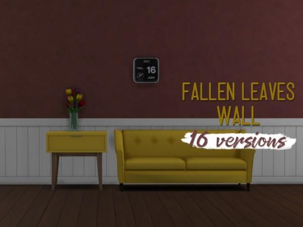 Simsworkshop: Fallen Leaves Wall by midnightskysims