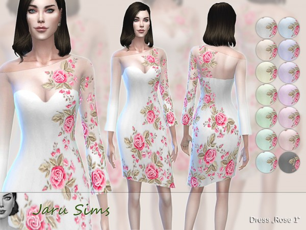 The Sims Resource: Dress Rose 1 by Jaru Sims