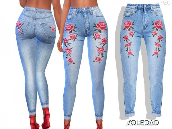 The Sims Resource: Soledad Embroidered Skinny Jeans by Pinkzombiecupcakes