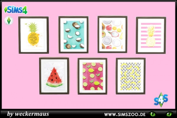 Blackys Sims 4 Zoo: Wall fruits black by weckermaus
