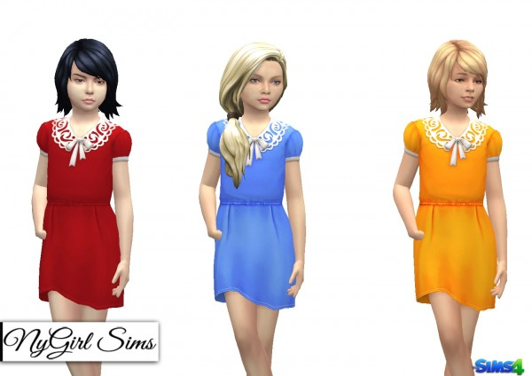 NY Girl Sims: Collar and Bow Dress for Girls