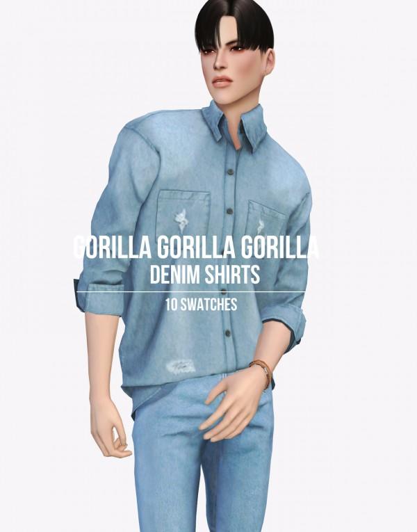 Gorilla: Denim shirt and Vacation and Tranks Hair