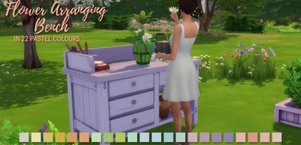 Simlish Designs: Flower Arranging Bench in 22 Pastel Colours