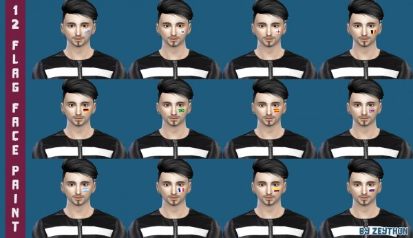 Simsworkshop: 12 Flag Face Paint by Augustino
