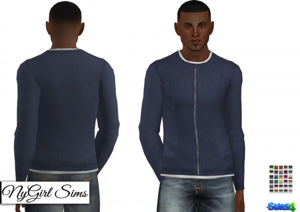 NY Girl Sims: Double Layered Zip Up Sweater