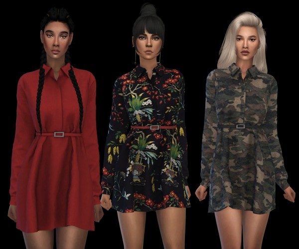 Leo 4 Sims: Belted dress