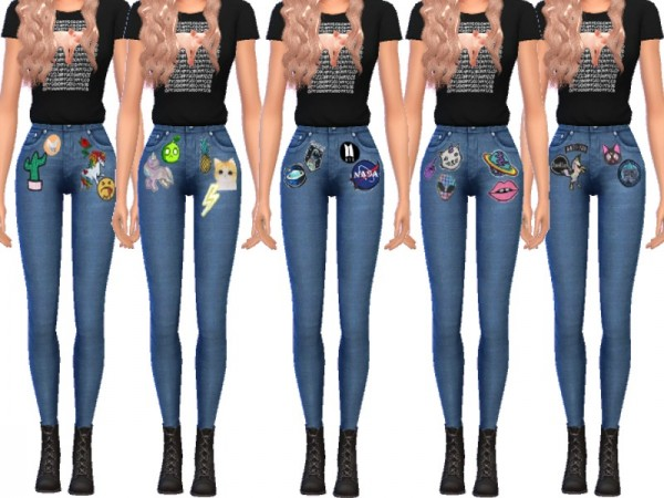 The Sims Resource: Cute Patched Jeans by Wicked Kittie