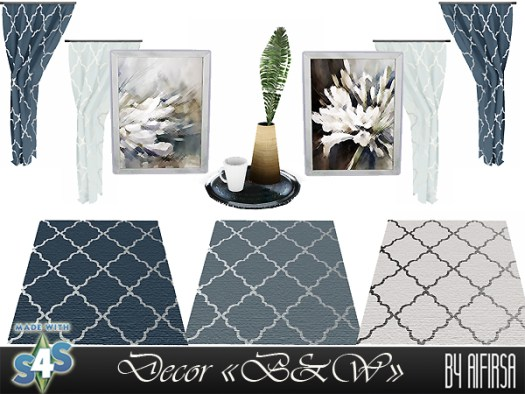 Aifirsa Sims: Decor for bedroom B & W