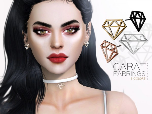 The Sims Resource: Carat Earrings by Pralinesims